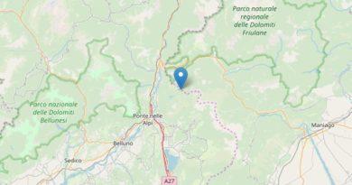 Scossa di terremoto tra il bellunese e le Dolomiti friulane distintamente avvertita
