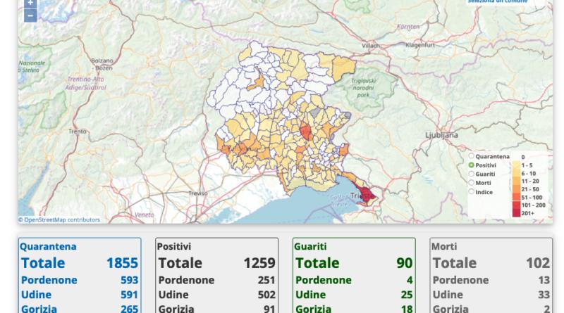 La Protezione Civile del FVG ha messo online la mappa dei contagi a livello comunale