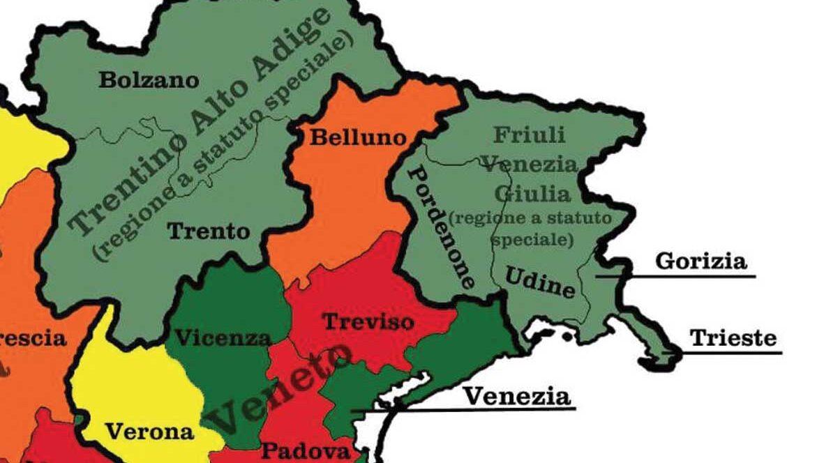 Cartina Friuli Venezia Giulia E Veneto.Dal 18 Maggio Si Potra Sconfinare Dal Fvg Alle Province Venete Adiacenti Ilfriuliveneziagiulia